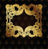 Gold Frame On Brown Ornate Background
