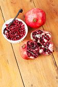Delicious Fresh Pomegranate Fruit On Table