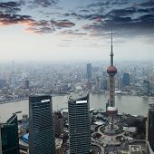 Shanghai At Dusk With Sunset Glow