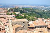 Picturesque view on historic buildings of Volterra in Tuscany, Italy