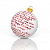 Merry Christmas in different languages forming a Christmas Ball