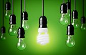 stock photo of fluorescent  - Energy Saving And Simple Light Bulbs - JPG