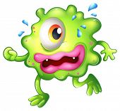 Illustration of a green monster escaping on a white background