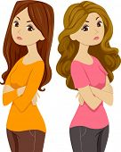 Illustration of Two Females Standing Back to Back and Giving Each Other the Silent Treatment