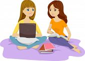 Illustration of Two Females Studying in Bed Together