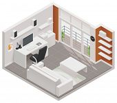 stock photo of isometric  - Vector isometric working room icon - JPG