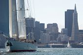 SAN FRANCISCO, CA - SEPTEMBER 13: Super yacht Kealoha competes in a regatta during the America's Cup