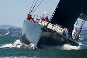 SAN FRANCISCO, CA - SEPTEMBER 13: Super yacht Chrisco competes in a regatta during the America's Cup