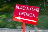 Elections with red sign in France