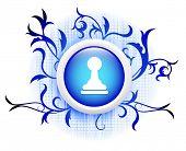 pawn icon on blue decorative button