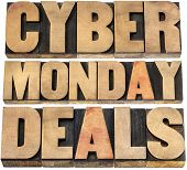 Cyber Monday deals - online shopping and marketing concept - isolated text in letterpress wood type