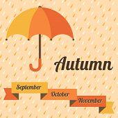 Autumn vector illustration with umbrella and rain.