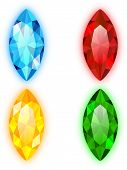 Set of Four Gems Marquise Shaped