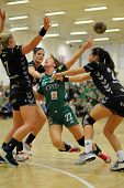 SIOFOK, HUNGARY - SEPTEMBER 14: Adrienn Orban (in green) in action at a Hungarian National Champions