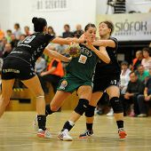 SIOFOK, HUNGARY - SEPTEMBER 14: Eduarda Amorim (in green) in action at a Hungarian Championship hand