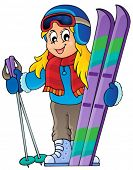 Skiing theme image 1 - eps10 vector illustration.