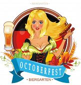 Oktoberfest logo design with the flag of Germany and Pretty girl with beer. Vector illustration