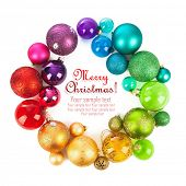 stock photo of twinkle  - Christmas wreath of colored balls - JPG