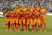 BARCELONA - AUG, 24: Valencia CF Team posing before a Spanish League match against RCD Espanyol at t