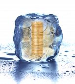 Stack Of Coins In The Ice Cube. Frozen Accounts