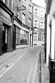 London Back Street in Black & White