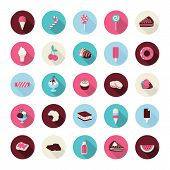 image of cherry pie  - Vector icons for different types of desserts and fruits - JPG