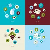 Set of flat design concept icons for water, coffee, wine and milk