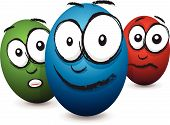 stock photo of blubber  - a set of three cartoon coloured egg faces - JPG