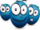 cartoon blue egg faces