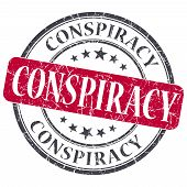 Conspiracy Red Grunge Round Stamp On White Background