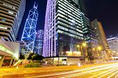 Central business district in Hong Kong with traffic trail