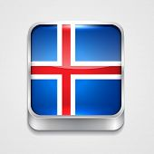 vector 3d style flag icon of iceland