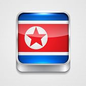 vector 3d style flag icon of north korea
