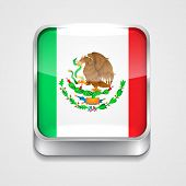 vector 3d style flag icon of mexico