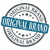 Original Brand Blue Grunge Round Stamp On White Background