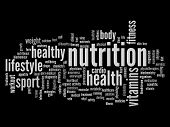 High resolution concept or conceptual abstract nutrition and health word cloud or wordcloud on black background