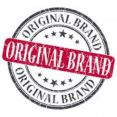 Original Brand Red Grunge Round Stamp On White Background