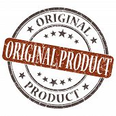 Original Product Brown Grunge Round Stamp On White Background