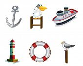 Illustration of the different things found at the port on a white background