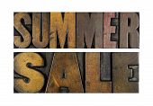 stock photo of yard sale  - The words SUMMER SALE written in vintage letterpress type - JPG