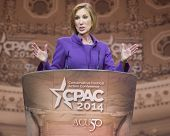 NATIONAL HARBOR, MD - MARCH 8, 2014: Carly Fiorina speaks at the Conservative Political Action Conference (CPAC).