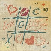picture of tic-tac-toe  - vector Tic Tac Toe Hearts - JPG