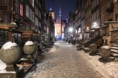 foto of tenement  - Tenement houses of the old town in Gdansk winter night - JPG