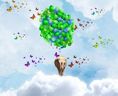 Elephant flying in sky on bunch of colorful balloons