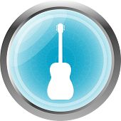 Electric Guitar Blue Button Isolated On White