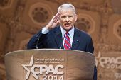 NATIONAL HARBOR, MD - MARCH 7, 2014: Political commentator Lieutenant Colonel Oliver North speaks at the Conservative Political Action Conference (CPAC).
