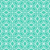 image of oval  - Vintage vector art deco pattern with 1970s motifs in tropical blue and white colors - JPG