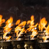Butter lamps in a buddhist monastery