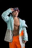 Friendly Attractive Skier Or Snowboarder With Muscular Torso