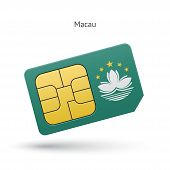 Macau mobile phone sim card with flag.